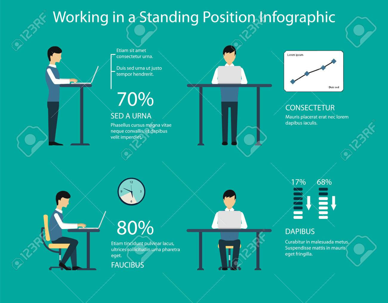 Vector   Working In Standing Position Vector Illustration. Benefits Of A Standing  Desk