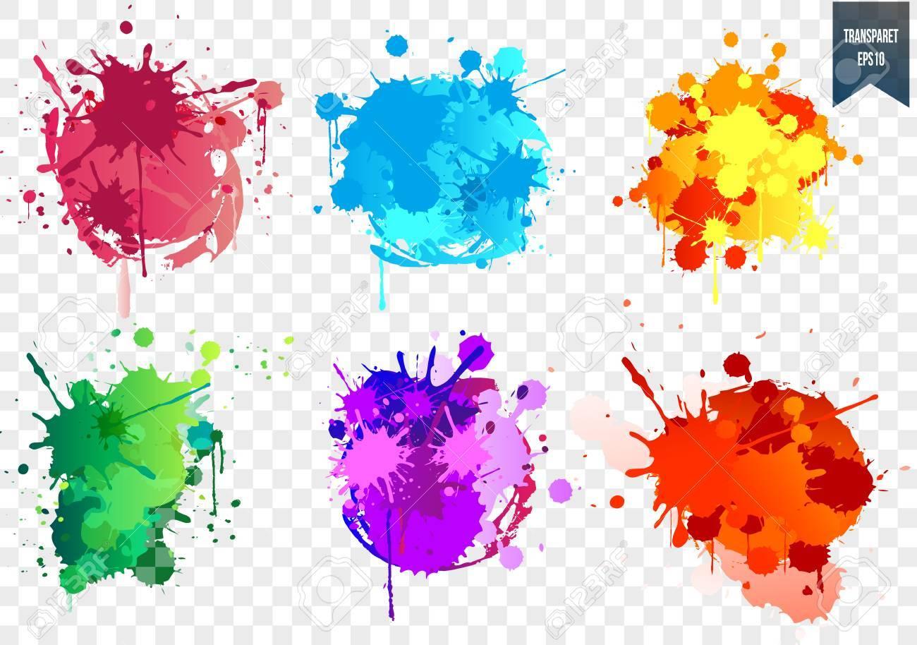 Transparent Paint Splash SetPaint Splat Set For Design Use Vector Illustration Stock