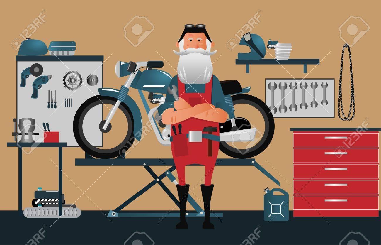 Old school motorcycle service shop. Illustration - 87378869