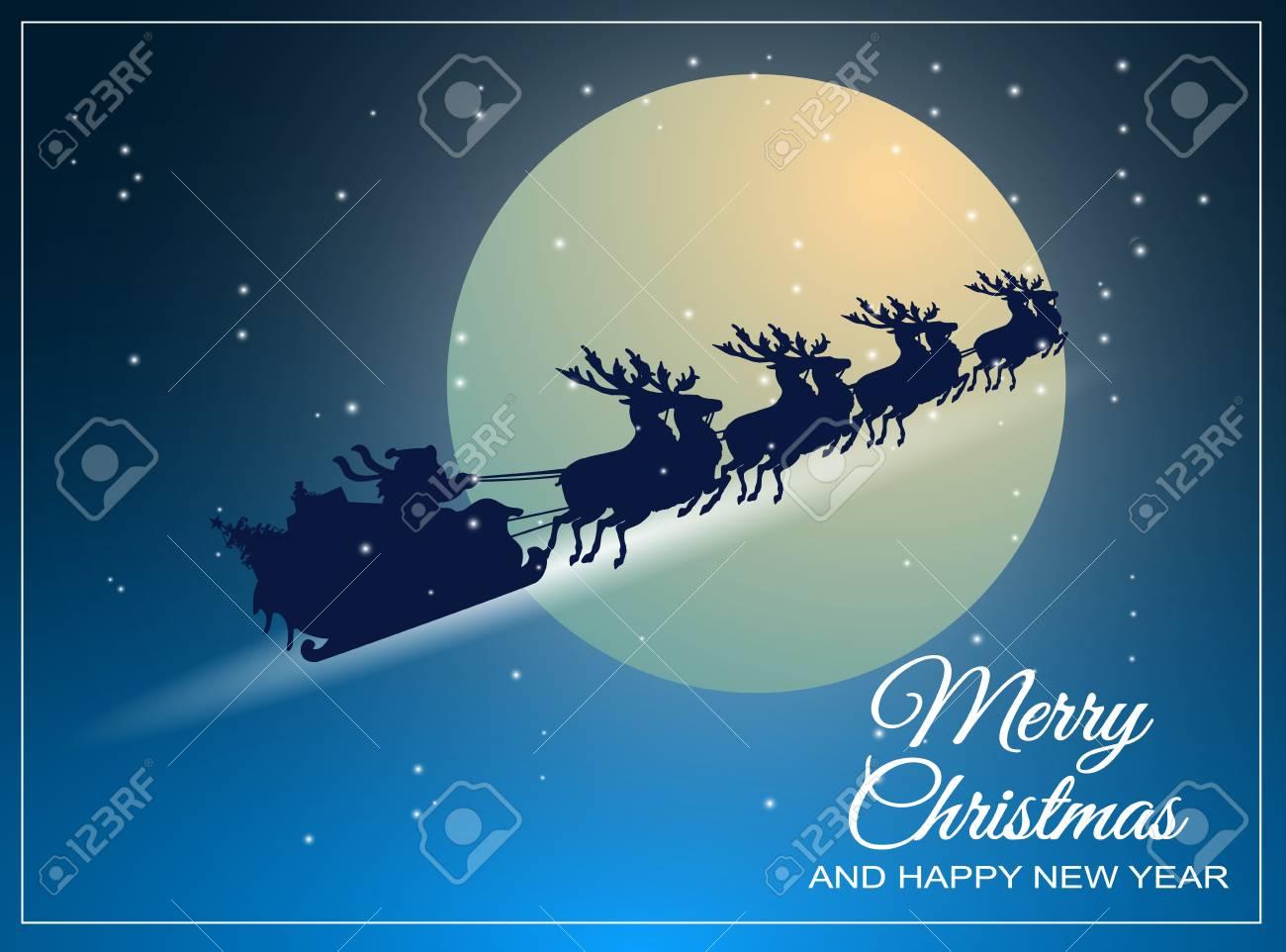夜を徹してトナカイとそりでサンタ クロースの乗り物 月の背景として メリー クリスマス ベクトル イラスト のイラスト素材 ベクタ Image