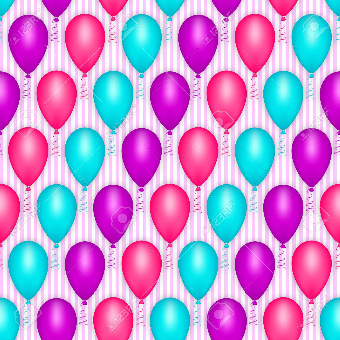 Balloon Seamless Pattern Happy Birthday Party Holiday Decoration