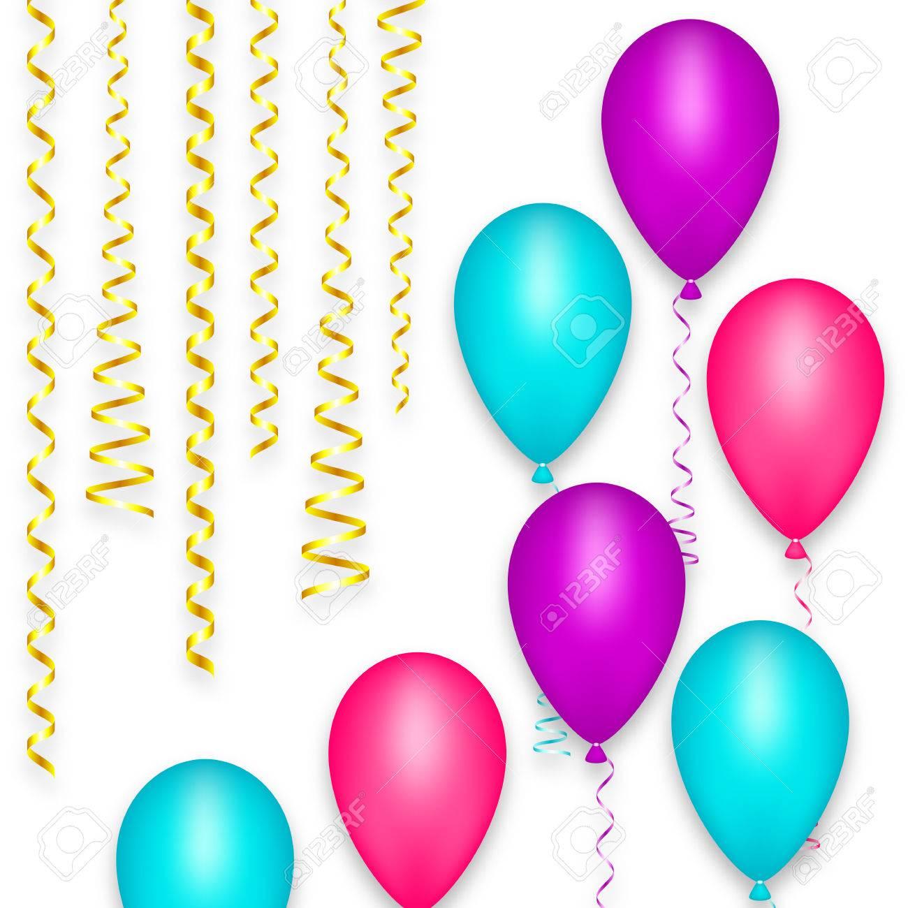 Design Carte De Voeux Fond Ballon Fete Joyeux Anniversaire Festival Decoration De Carnaval De Vacances Streamer Ruban Spirale Couleur Rose Bleu Violet Vector Illustration Clip Art Libres De Droits Vecteurs Et