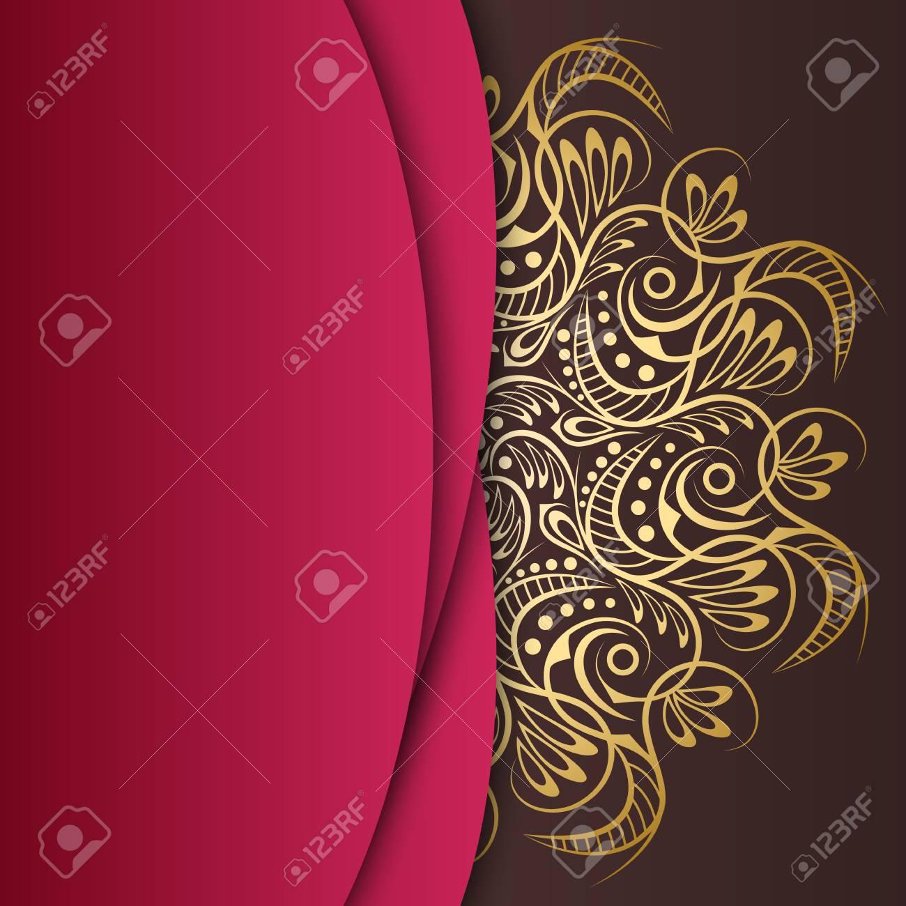 Mandala Gold Background Invitation Card Pattern With Vintage