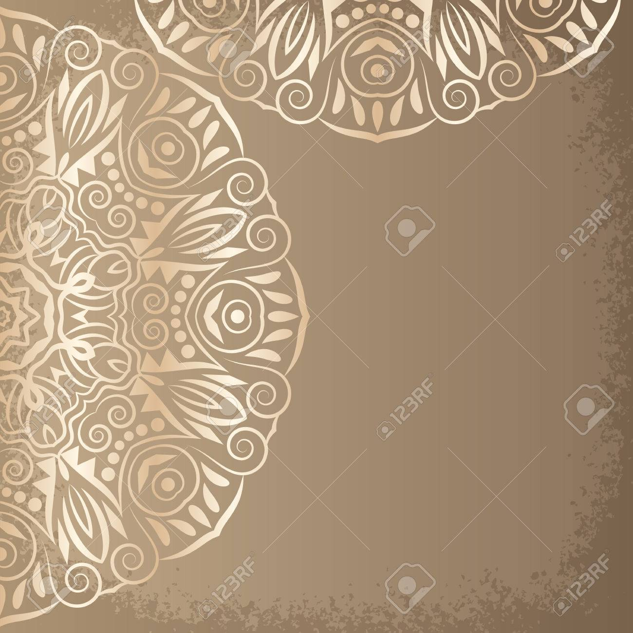 mandala gold background bohemian style vintage pattern with