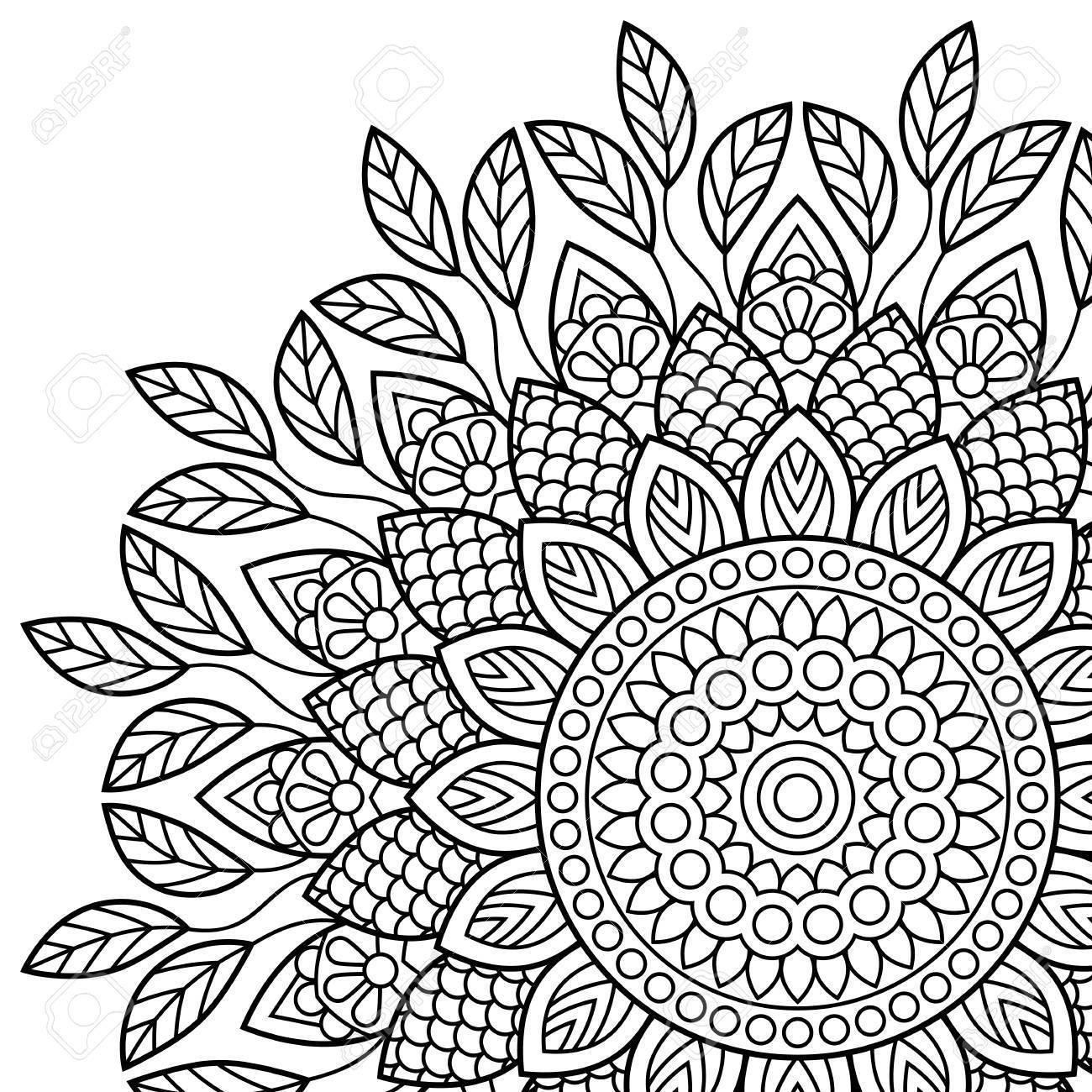 Mandala. Coloring book pages. Indian antistress medallion. Abstract..