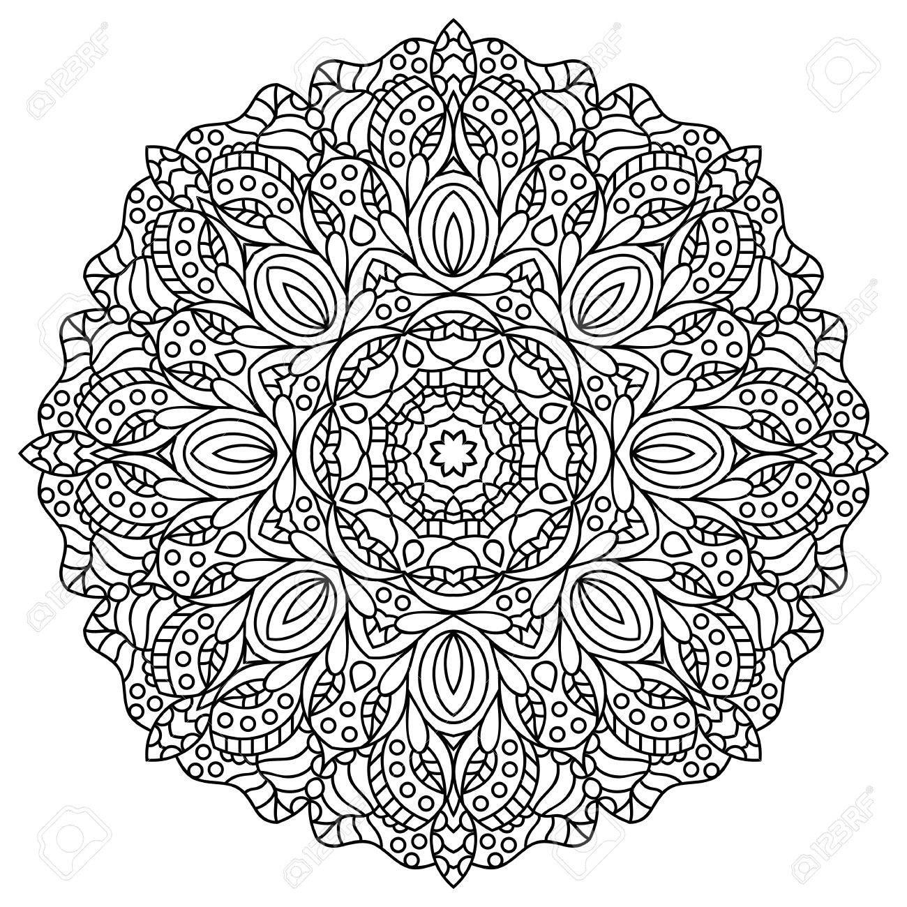 - Mandala. Coloring Book Pages. Indian Antistress Medallion