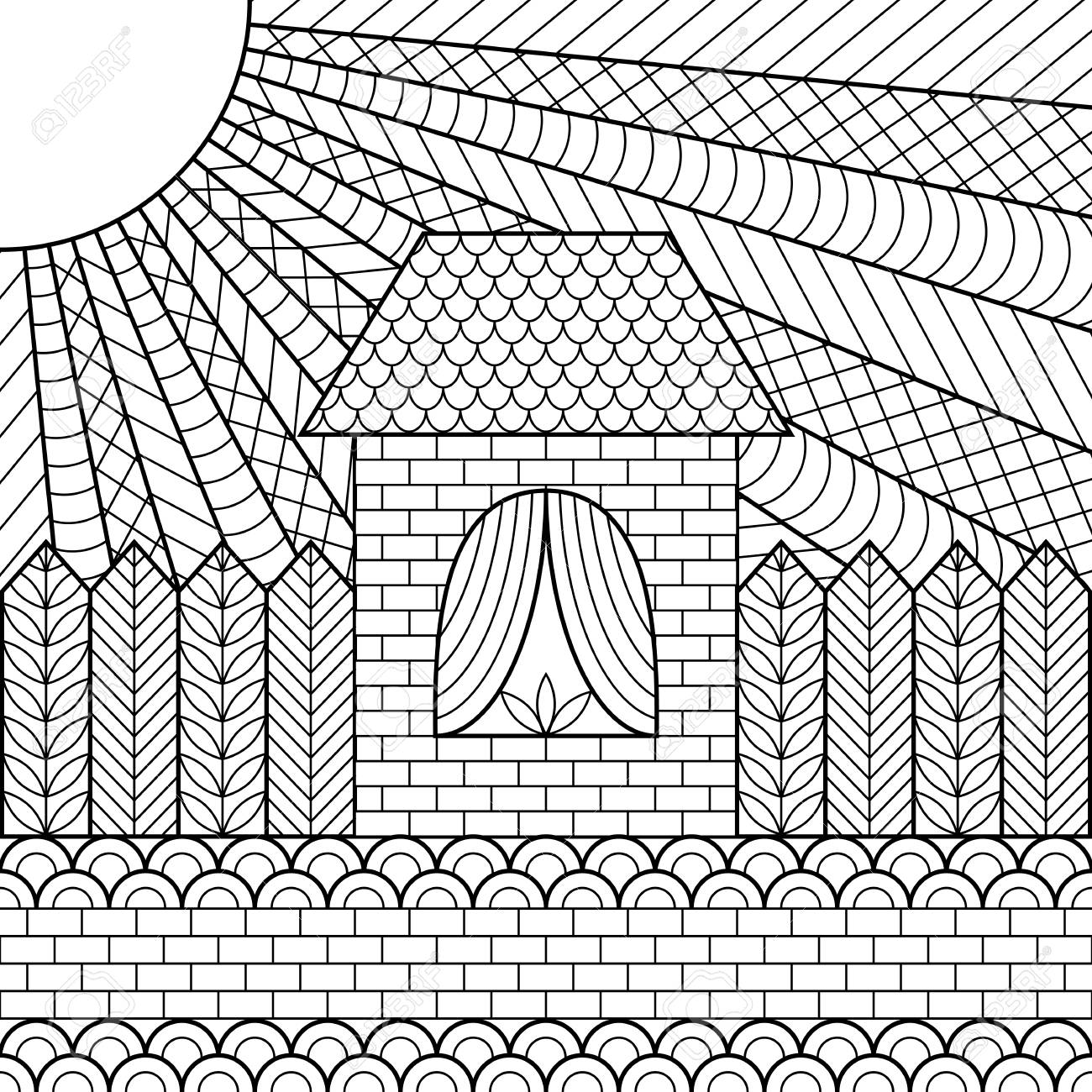 Coloring Page Book House Zentangle Stock Vector