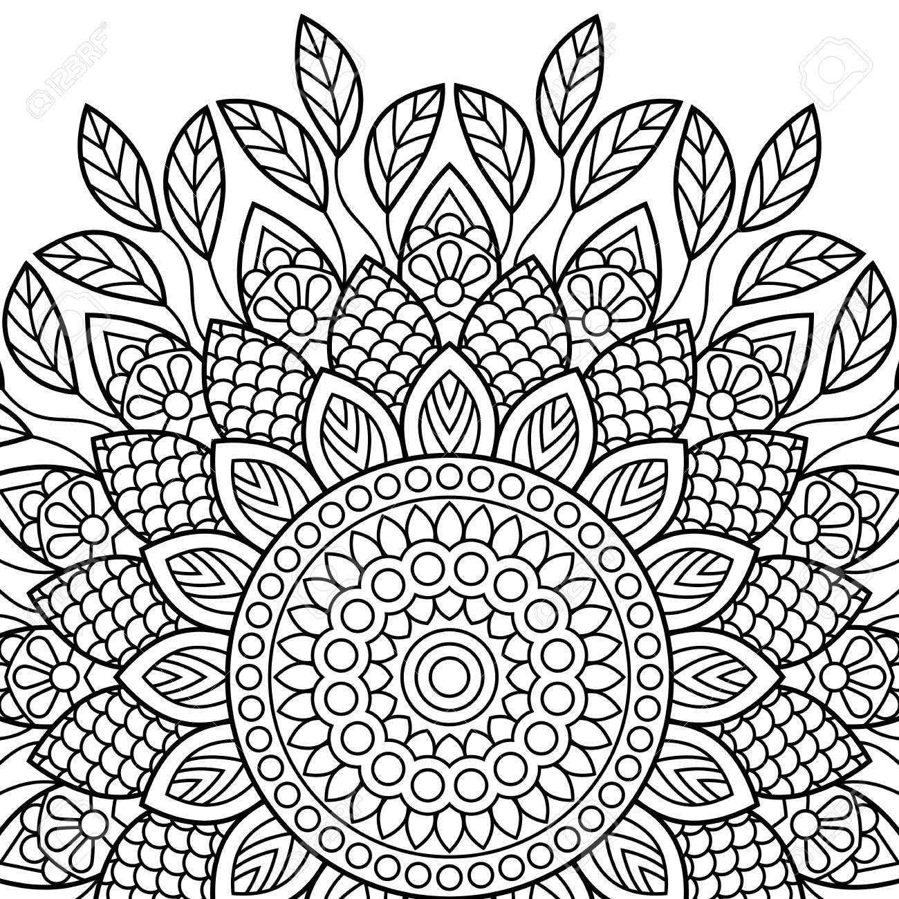 Coloring Book Pages Mandala Indian Antistress Medallion Abstract