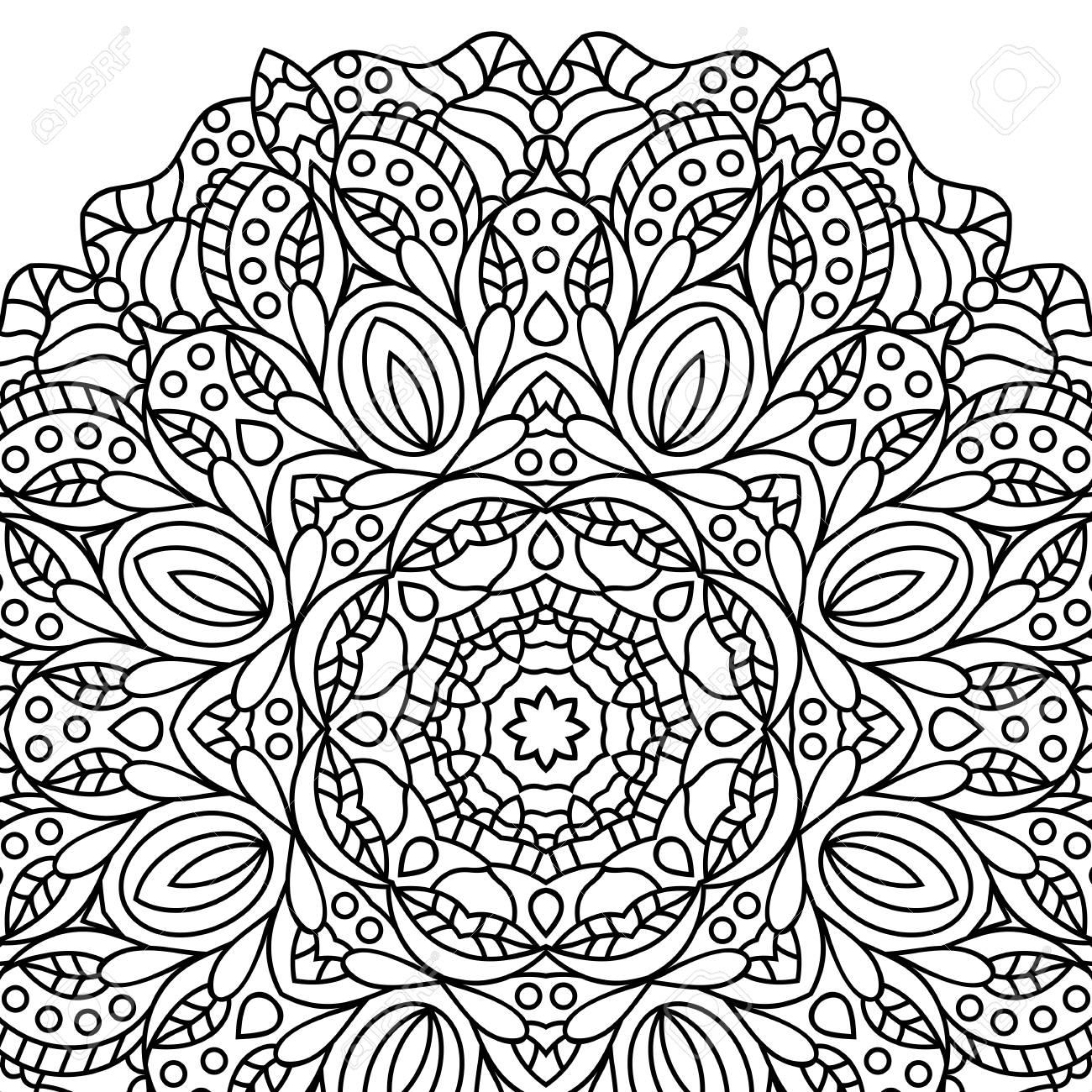 Coloriage Anti Stress Indien.Pages Du Livre A Colorier Mandala Medaillon Antistress Indien Fleur Islamique Abstraite Conception De Henne Arabe Symbole De L Yoga Fond Blanc