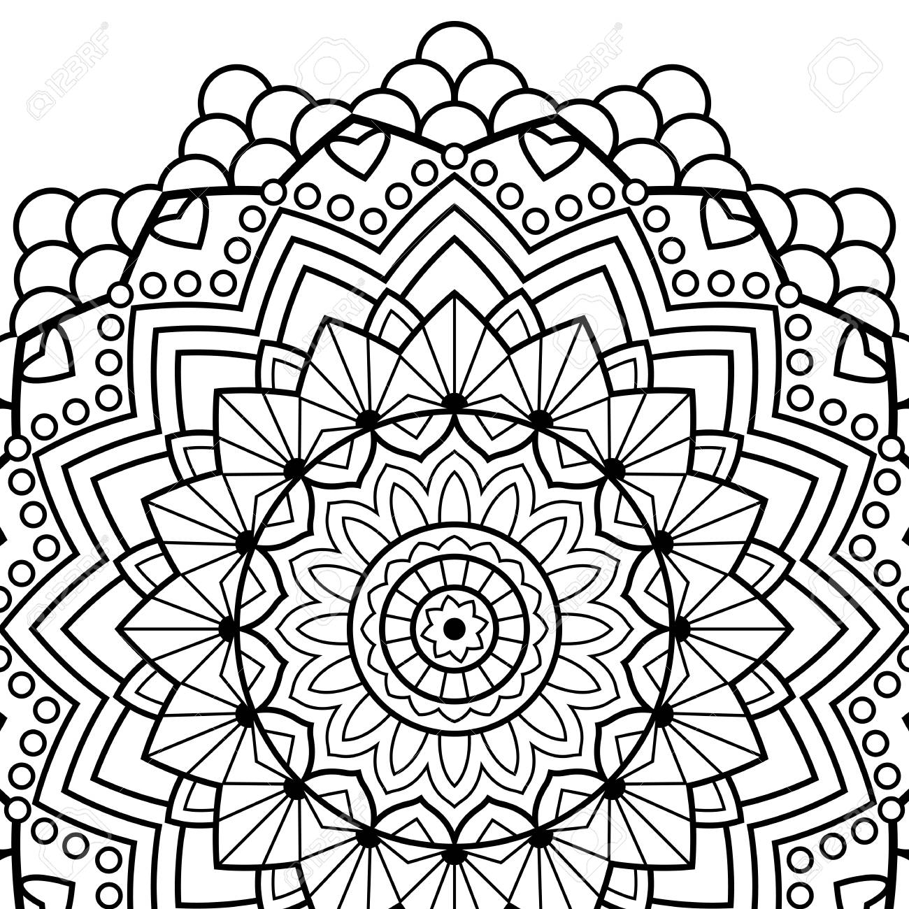 Coloring Book Pages Mandala Indian Antistress Medallion Abstract Islamic Flower Arabic Henna Design