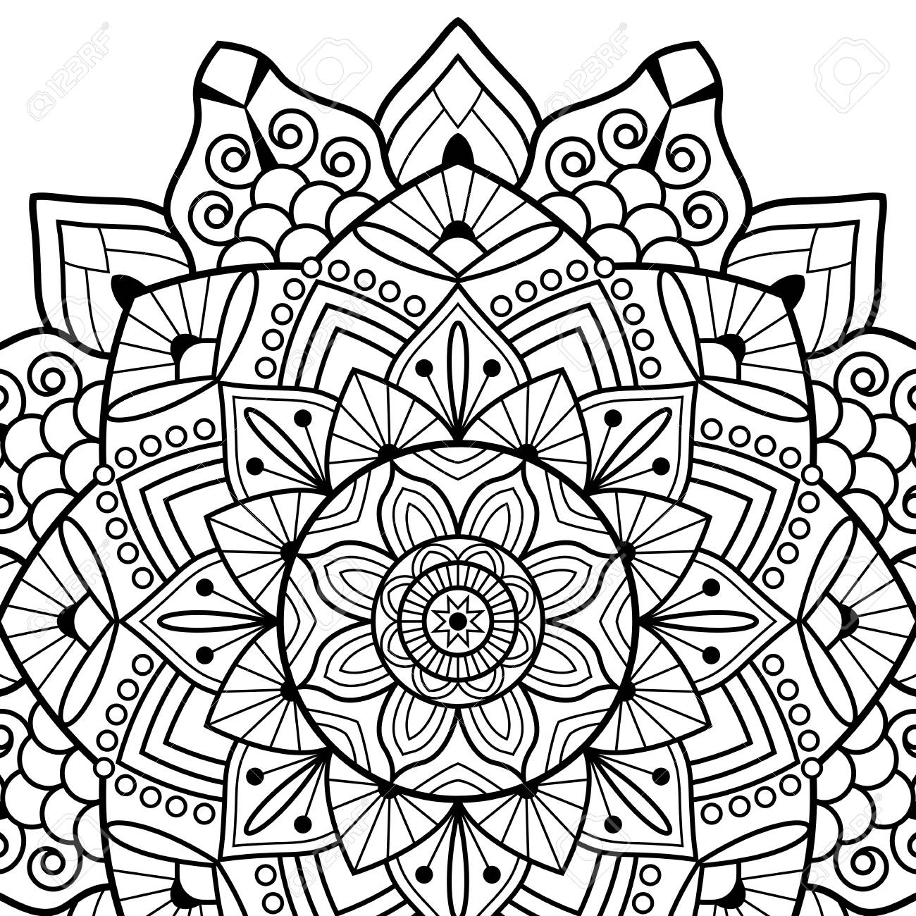 White Background Black Outline Vector Illustration Coloring Book Pages Mandala Indian Antistress Medallion Abstract Islamic Flower Arabic Henna Design