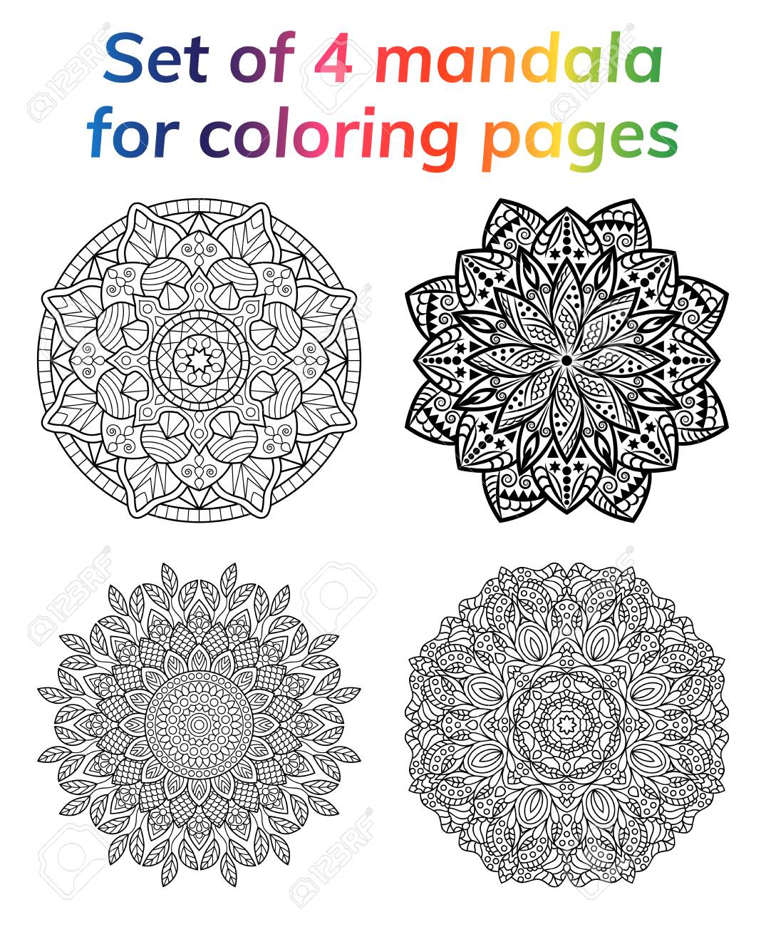 White Background Black Outline Vector Illustration Coloring Book Pages Set Collection Mandala Indian Antistress Medallion Abstract Islamic Flower