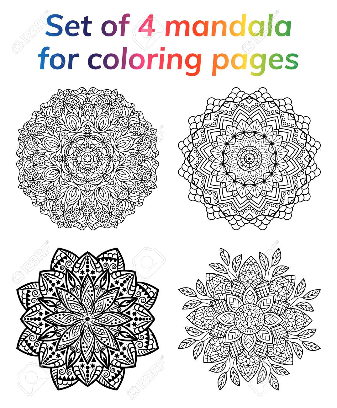 coloring book pages set collection mandala indian antistress medallion abstract islamic flower arabi