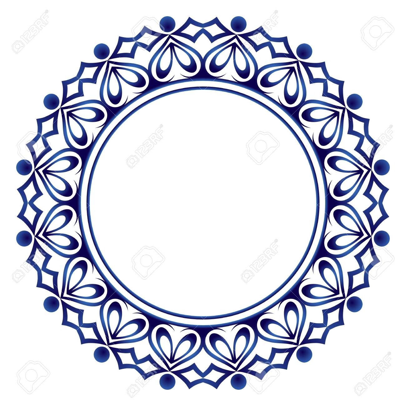 Decorative round ornament. Ceramic tile pattern. Pattern for plates or dishes. Islamic, indian, arabic motifs. Porcelain pattern design. Abstract floral ornament border. Vector stock illustration - 124064909