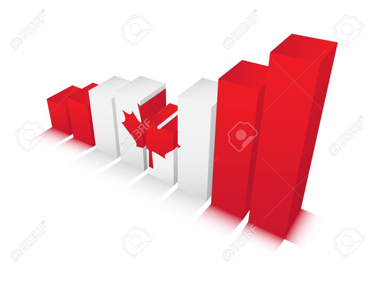 Vector illustration of graph with Canadian  flag. Stock Vector - 24624042