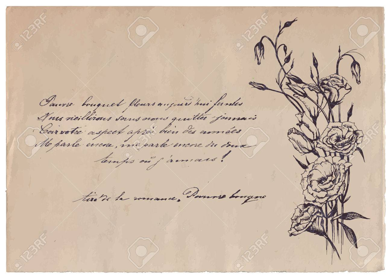 hand written poem on old paper background with drawing royalty free