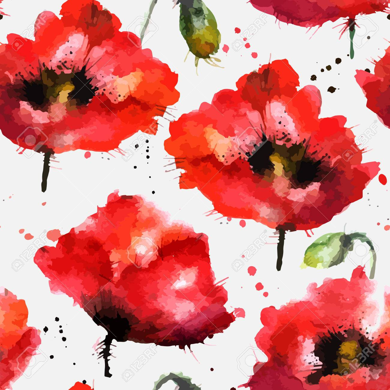 Watercolor Hand-drawn Poppy Flowers Vector Texture Royalty Free ...