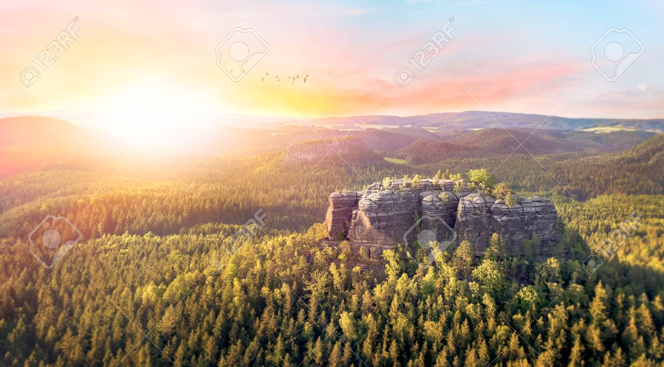 Incredible landscape with a stunning sunset. - 73998458