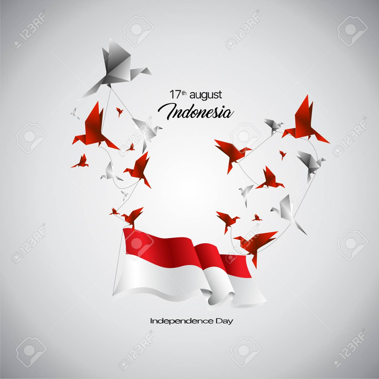 Vector Indonesia Flag and birds origami. - 105399869