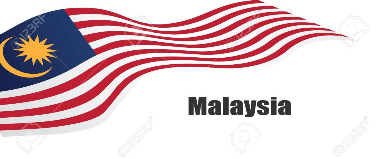 Vector illustration malaysia flag with Malaysia text. - 105399881
