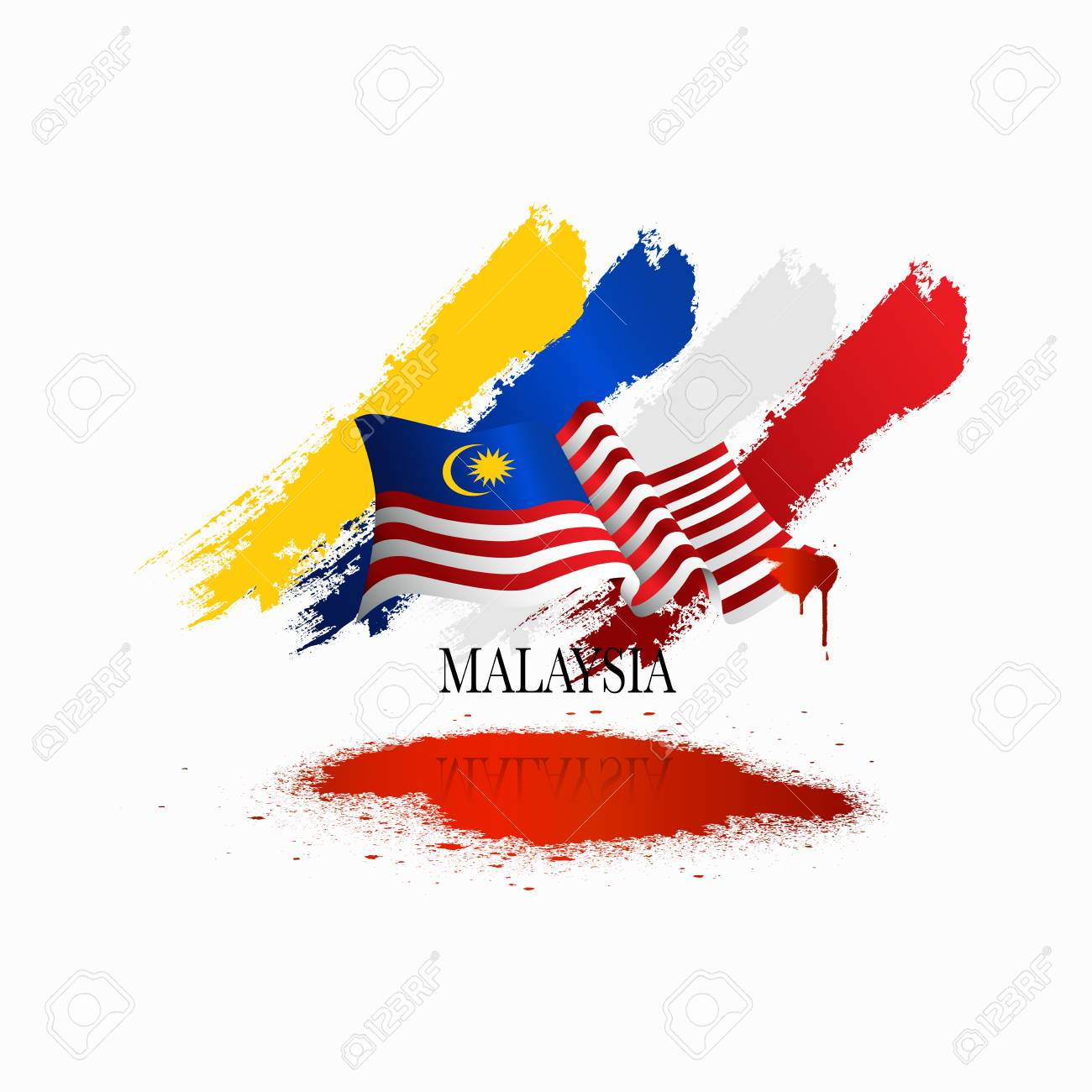 Vector illustration malaysia flag with Malaysia text. Banner or templet for broucher art element. - 105752741