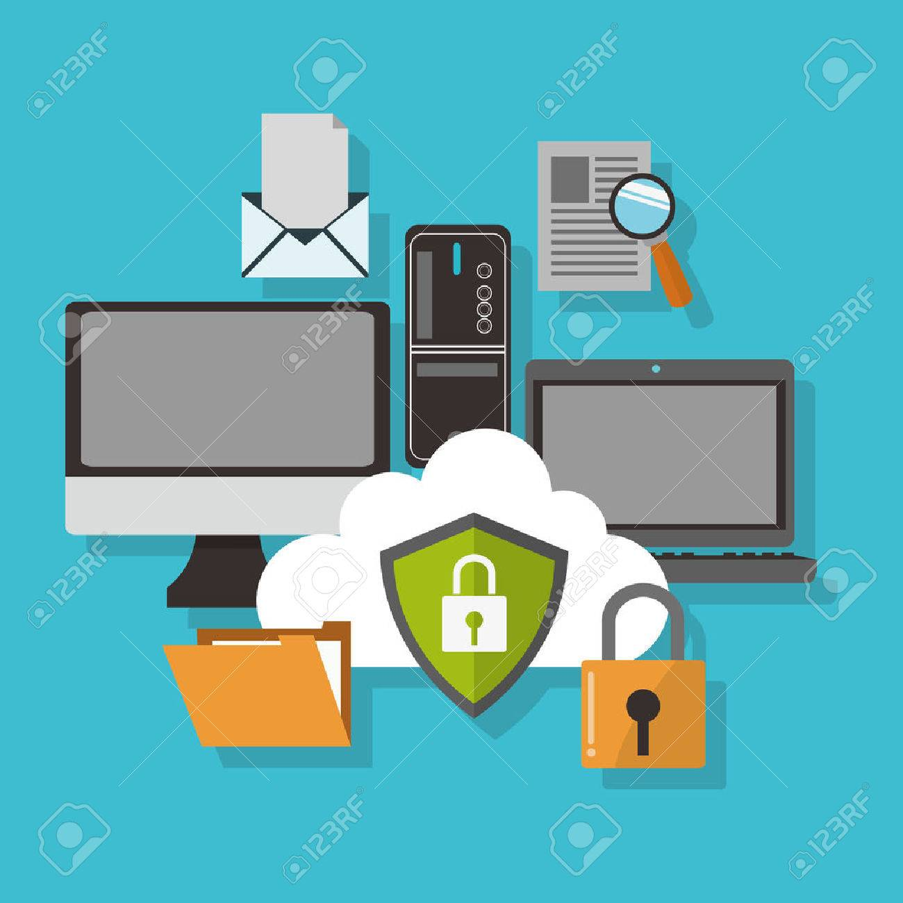 Cyber concept with security design, vector illustration 10 eps graphic. - 51645808