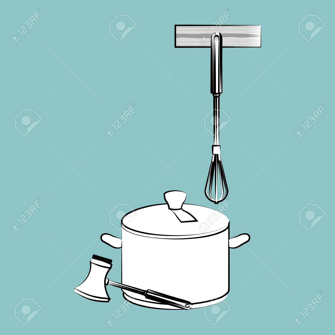 concetto dei rifornimenti della cucina con progettazione dell'icona