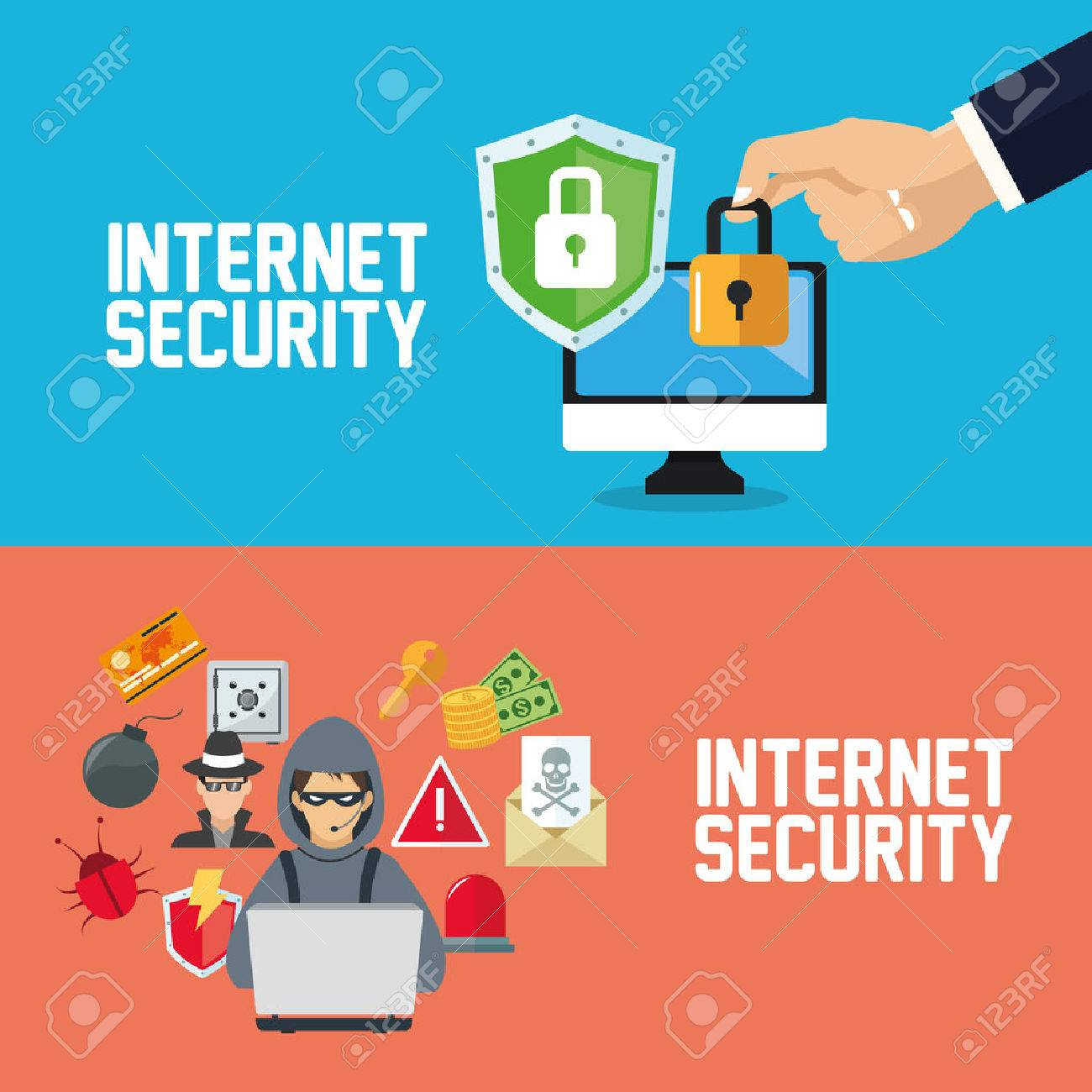 Internet security concept with icon design, vector illustration 10 eps graphic. - 57610334