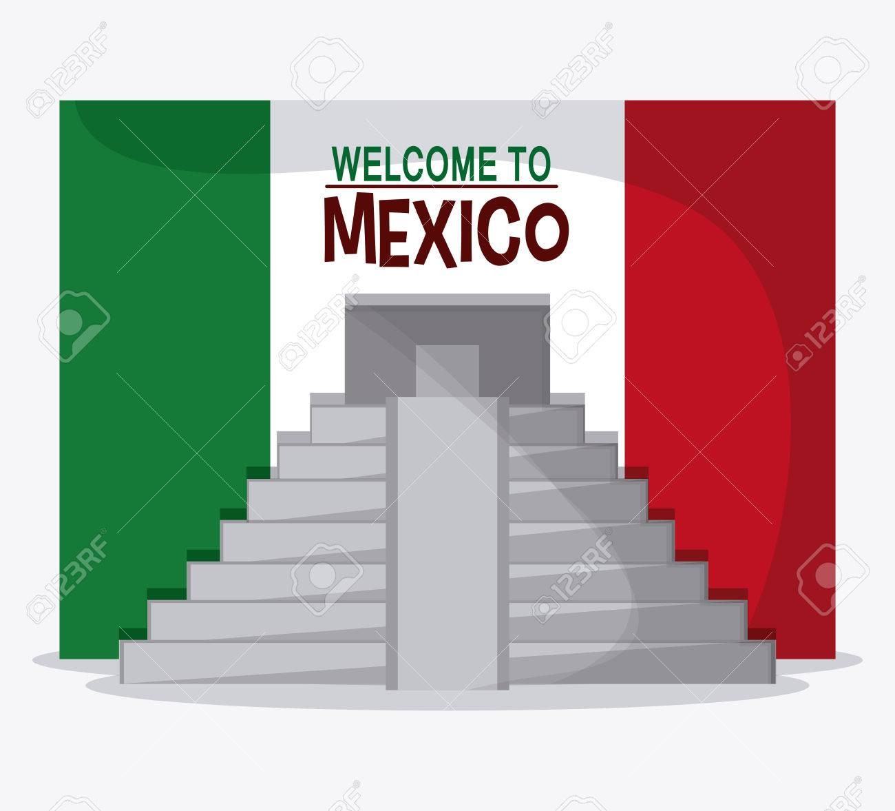Mexico culture icons in flat design style, maya pyramid, vector
