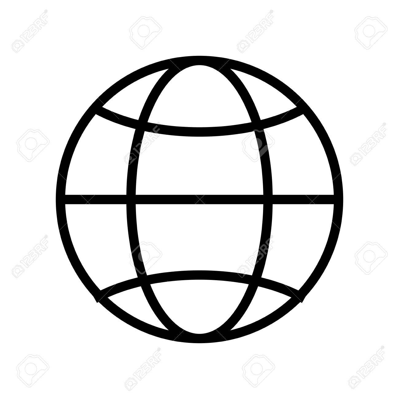 Simple Globe Diagram With Latitude Lines And Meridians Vector ...