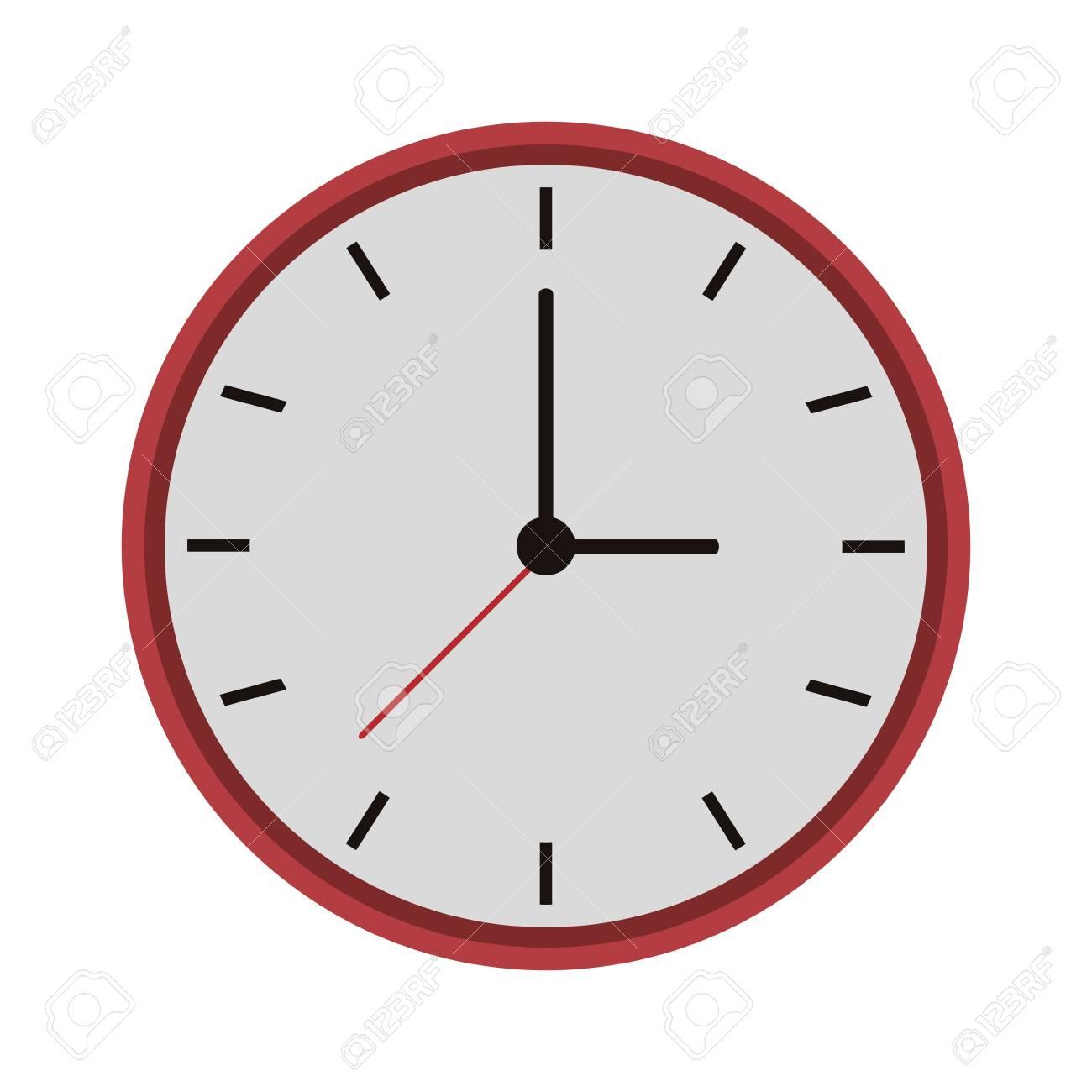 Reloj De Pared De Marco Rojo Con Ilustración En Blanco Vector De La ...