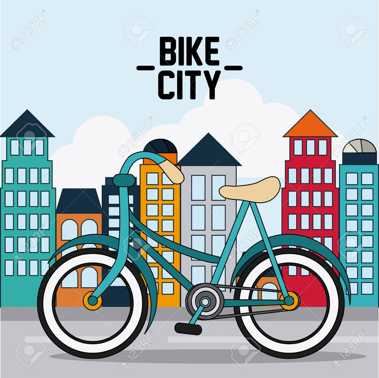 colorfull bike represented by classic bicycle in front of city rh 123rf com Bicycle Silhouette Clip Art Bike Riding Clip Art