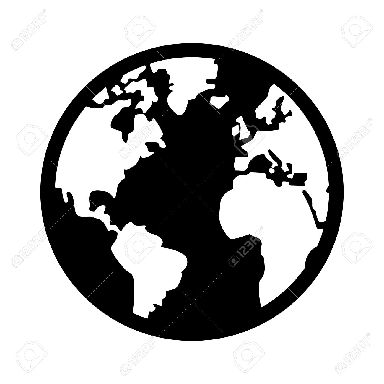 Elegant Black And White Earth Globe With Distinction Between Land And Sea Vector  Illustration Stock Vector
