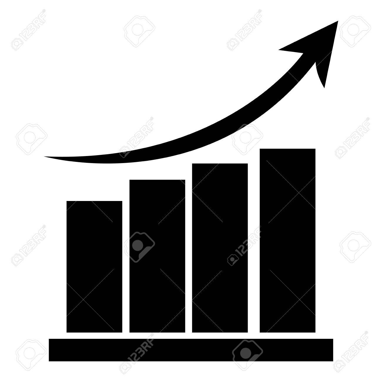 black bar graph with arrow on top pointing upwards vector