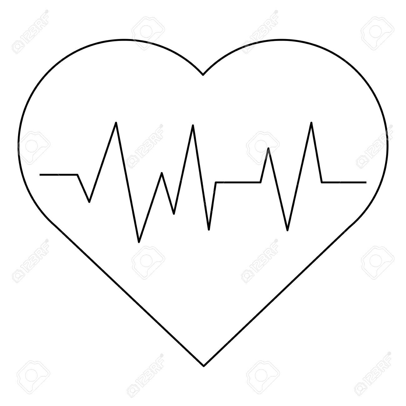 Coeur De Dessin Animé Simple Ligne Noire Avec Ligne D Impulsion à L Intérieur De L Illustration Vectorielle