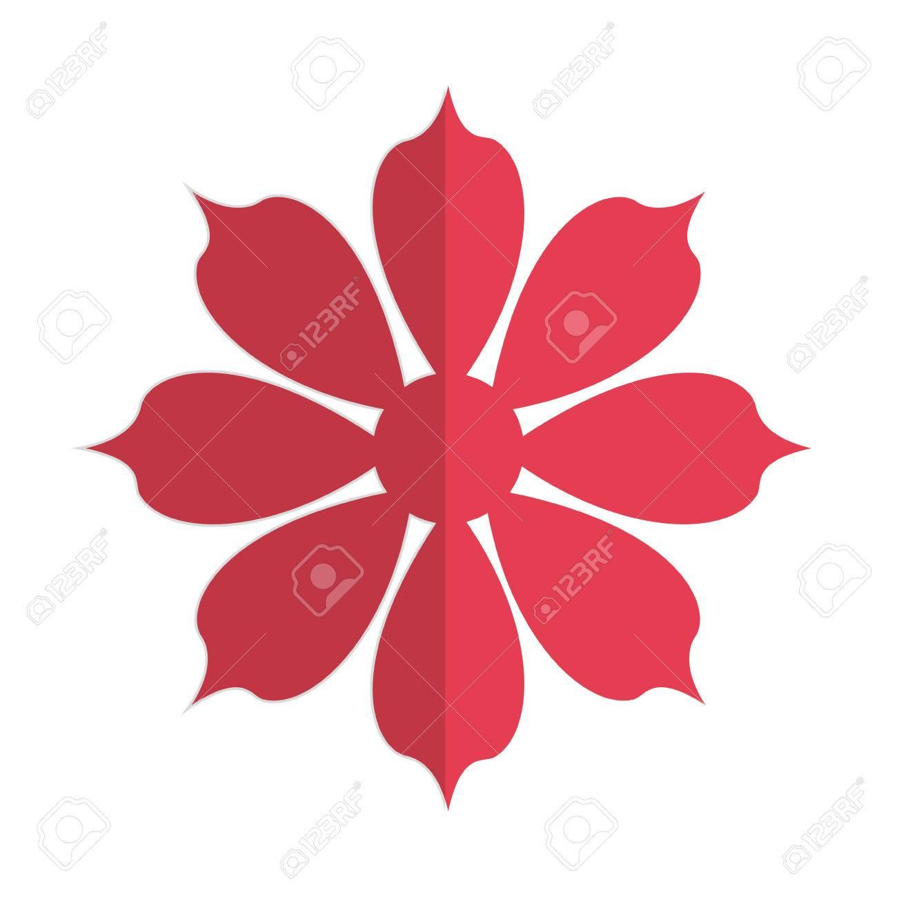 Diseño Plano Rojo Ilustración De Ocho Pétalos De Flores Del Vector