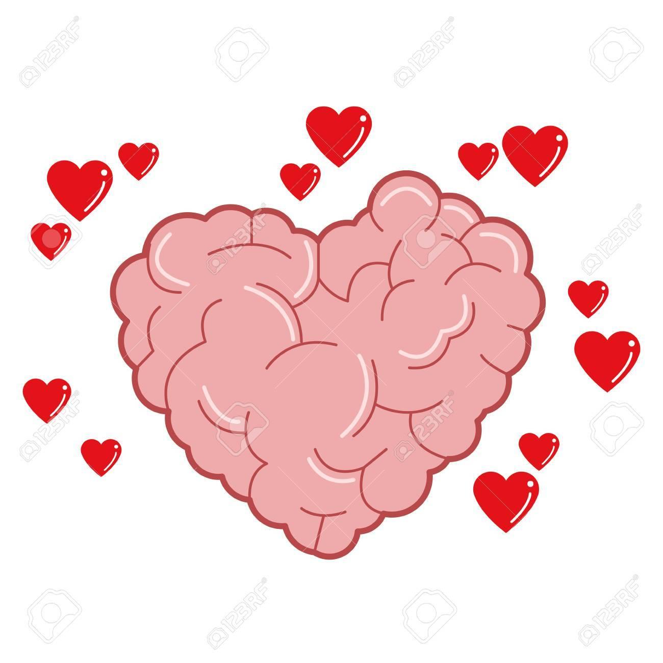 El Diseño Plano Del Cerebro En Forma De Corazón Con Pequeños