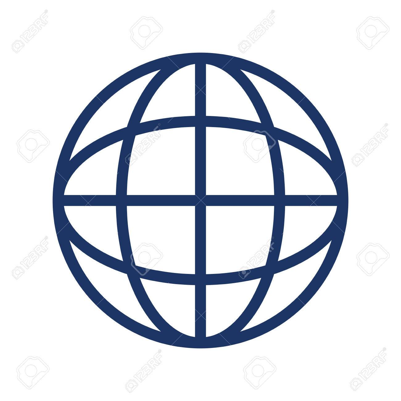 Simple Line Design Of Earth Globe Diagram With Latitude And ...