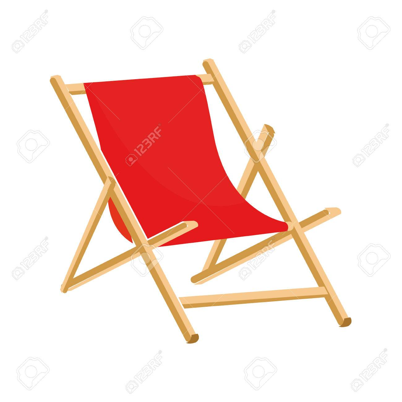 Beach Chair Vector flat design red beach chair icon vector illustration royalty free