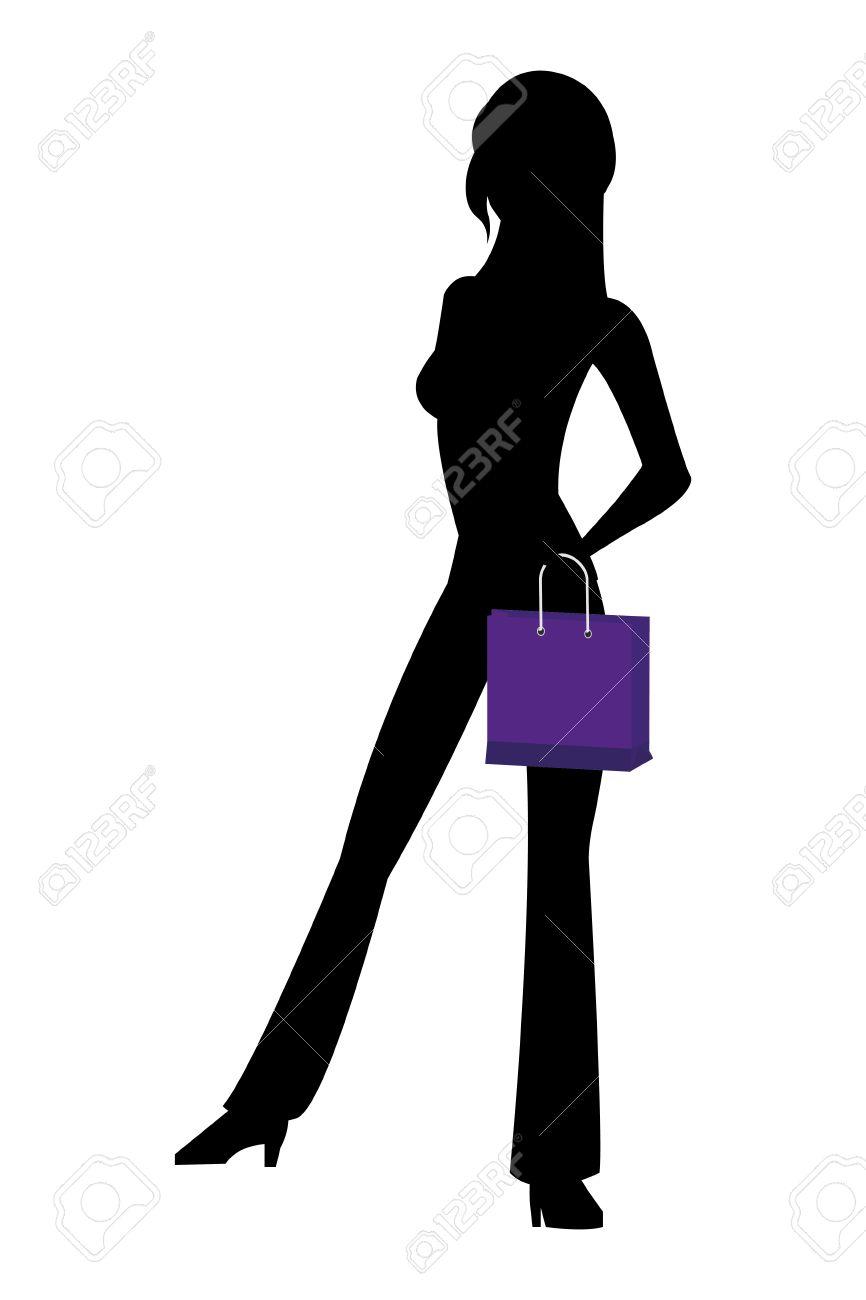 Diseño plano silueta negro mujer delgada holding ilustración vectorial bolsa de compras de color púrpura