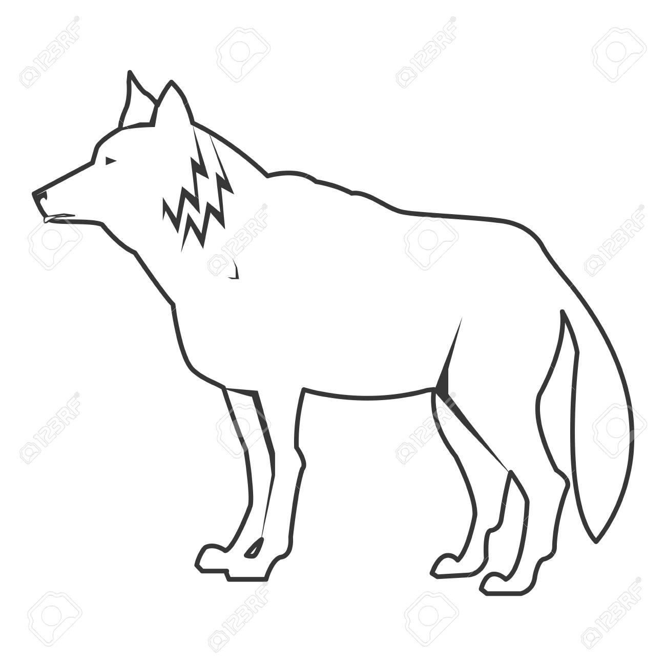 シンプルな黒い線狼アイコン ベクトル イラスト動物 ロイヤリティフリー