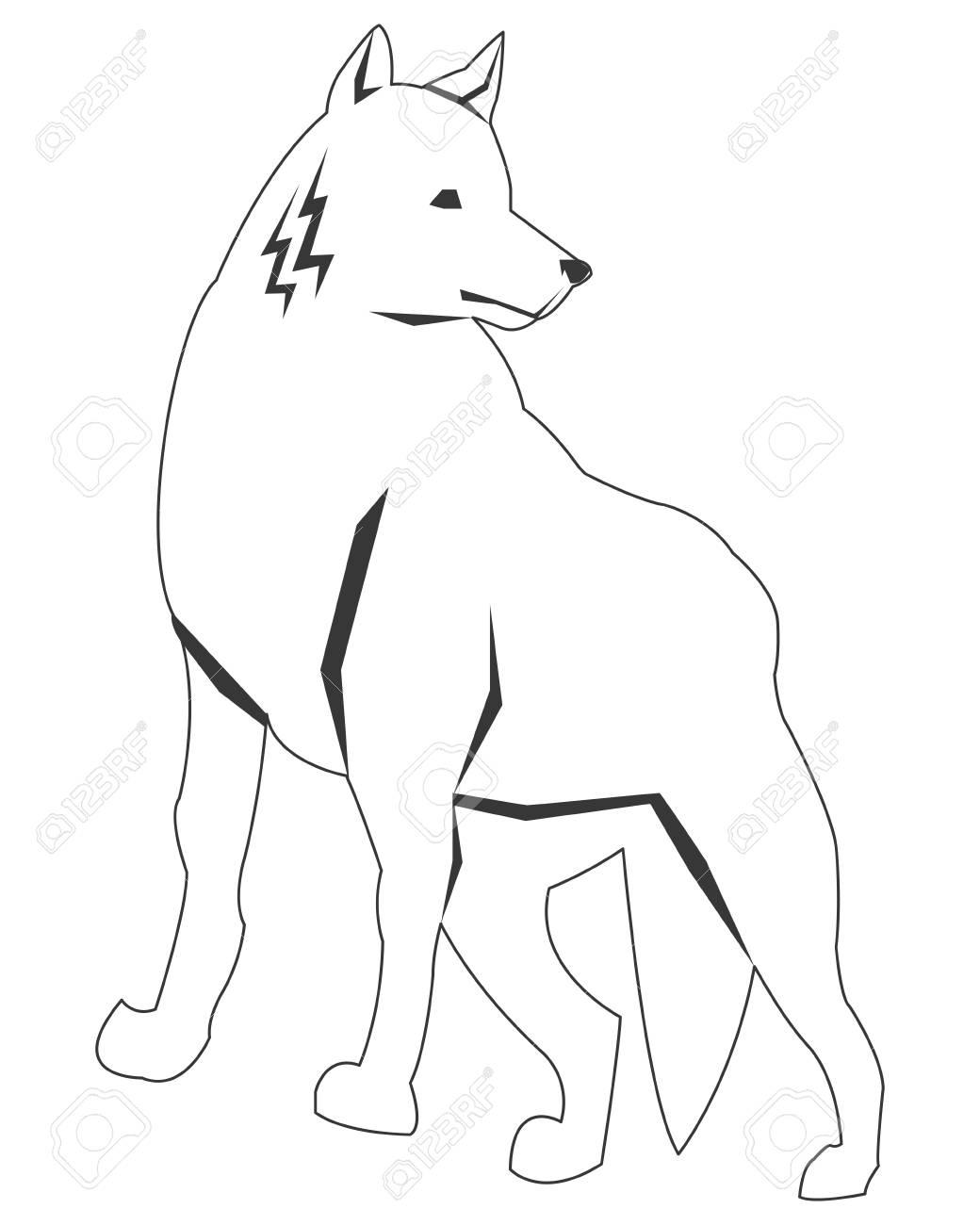 シンプルな黒い線狼アイコン ベクトル イラスト動物
