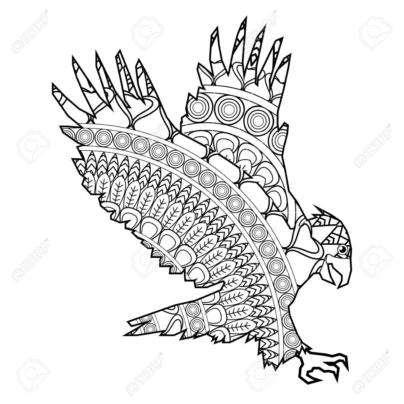 Einfache Flache Design Mandala Adler Illustration Symbol Vektor ...