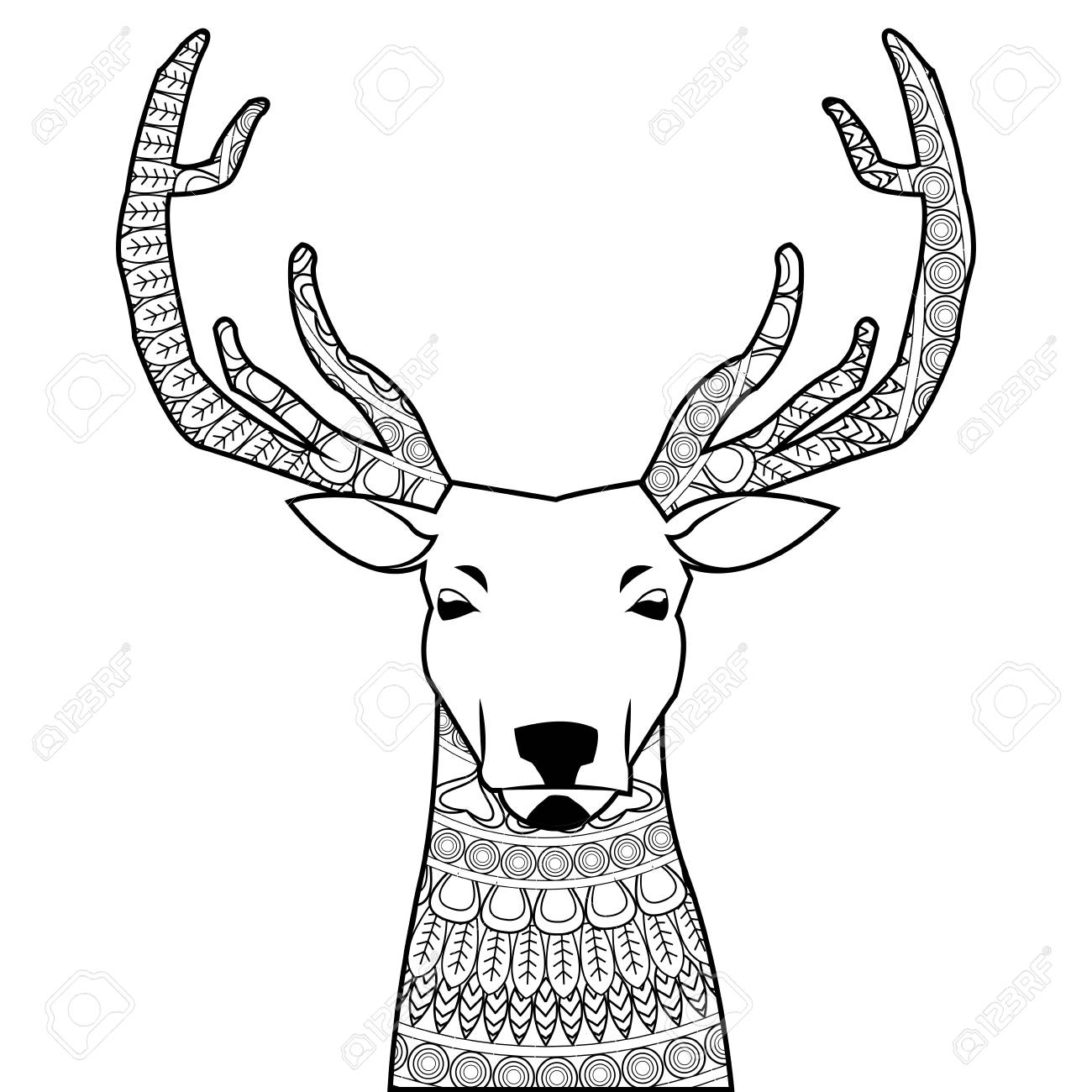 Coloriage Animaux Simple.Design Plat Simple Cerf Mandala Icone Illustration Vectorielle Coloriage Animal
