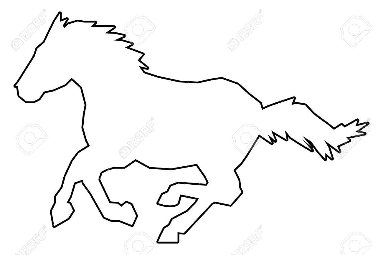 シンプルなフラット デザイン馬概要アイコン ベクトル イラスト動物