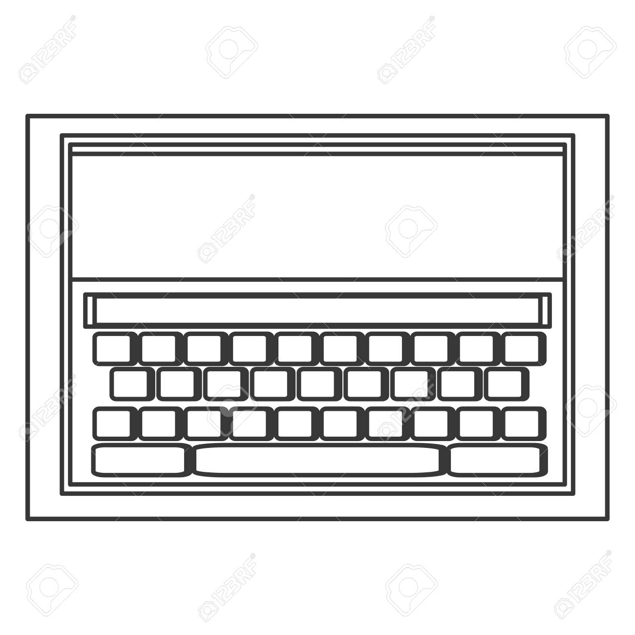 simple line design tablet with keyboard on screen icon vector