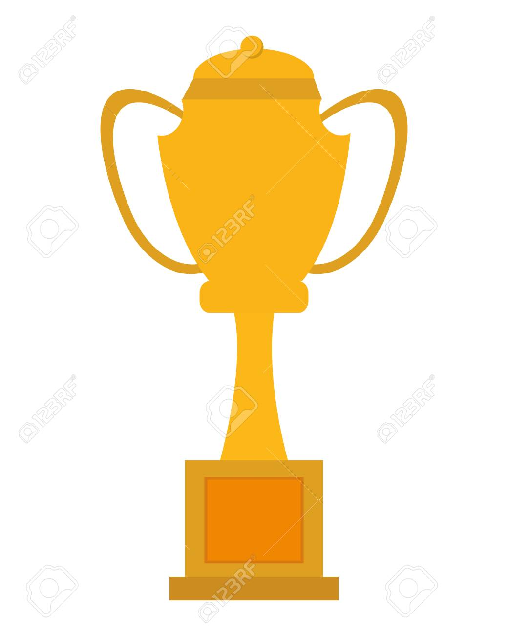 Simple Flat Design Yellow Trophy Cup Icon Vector Illustration Stock