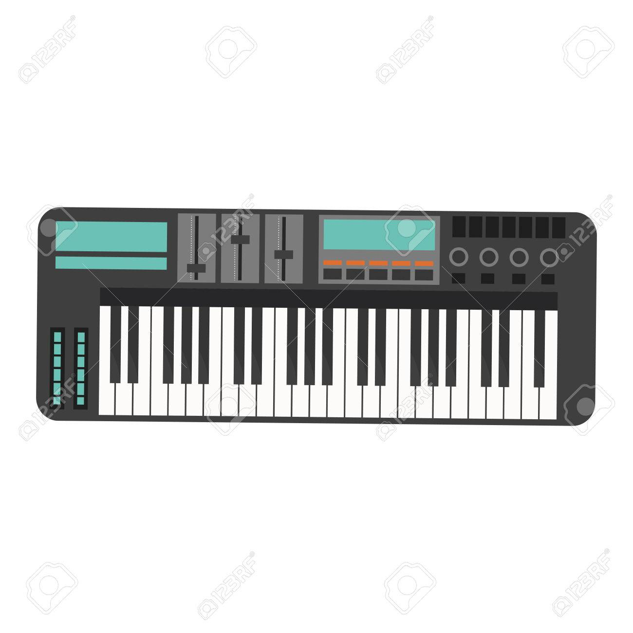 Flat Design Electronic Piano Keyboard Icon Vector Illustration Stock
