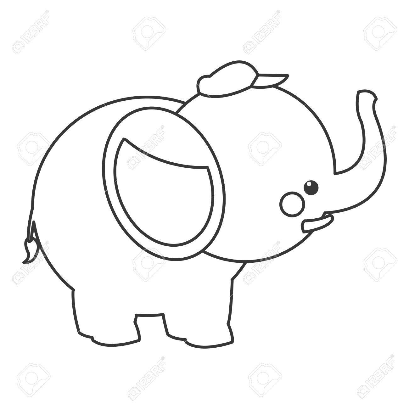 Diseño Plano Lindo Elefante De Dibujos Animados Con El Icono De ...