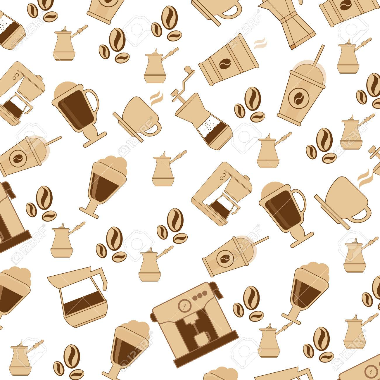 flat design coffee theme wallpaper icon vector illustration
